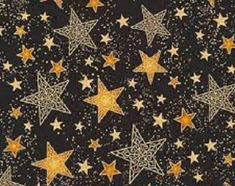 Gold Stars Black B/G-Winter's Grandeur 5-Robert Kaufman-BTY