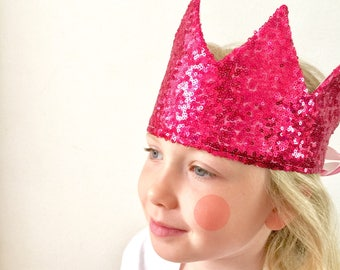 Bright Cerise Crown - sequin and sparkly
