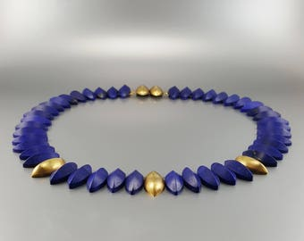 Lapis lazuli Collier/necklace with 14K gold - natural genuine Lapis Lazuli - blue and gold jewelry -Statement Necklace -gift Christmas