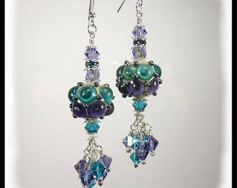 Purple and turquoise lampwork earrings, unique earrings, funky earrings, cosmic earrings, bubble earrings, crystal earrings, purple earrings