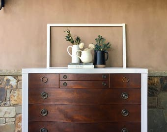 Vintage Solid Mahogany Bow Front Dresser in Antique White + Walnut