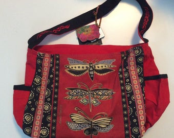 Laurel Burch Butterflies Red Canvas Bag