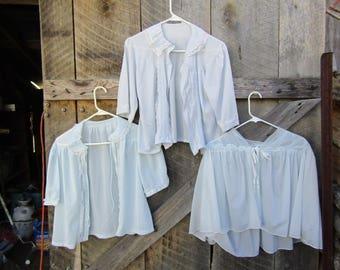 Lot of 3 blue vintage nylon bed jackets