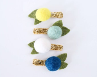 Lemon Drop Felt Ball Flower Clip Set // Metallic Gold Glitter Clips // Modern Hair Clip // Set of 4