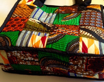 Padded African fabric tote shopping bag shoulder bad African print