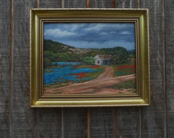 original oil painting of Texas hill country, 11x14 oil on canvas, framed