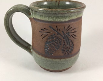 Mug, Ceramic Coffee Mug, Pottery Pinecone Mug, Lodge Look Mug, Handmade Mug, Unique Stoneware Cup