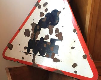 Original 1950's French Enamel 'Level Crossing' Road Sign. Vintage/Retro/Mid Century