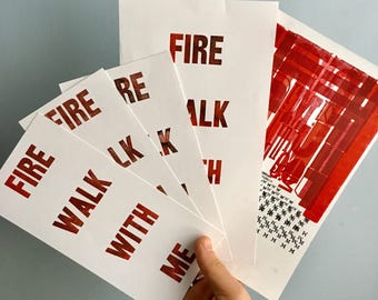 ONE OF A KIND Twin Peaks Fire Walk With Me Letterpress Monoprints Limited Edition