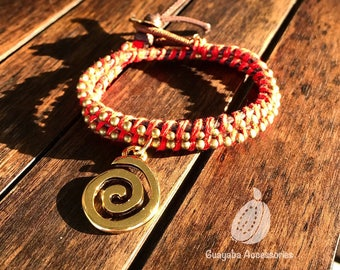 Bracelet with goldplated charm. Bracelet with bronze military chain. Red Bracelet.
