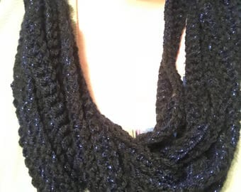 Black with blue sparkles Rope Scarf