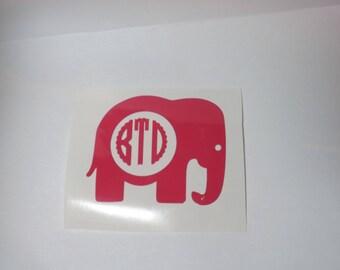 Elephant Monogram Car decal, elephant gift,momogram,personalized ,car decal, monogram decal, yeti, laptop