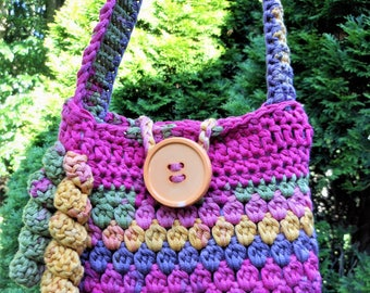 little girl crochet colorful handbag, button closure fully lined, birthday present, kids tote shoulder bag, fun sized pouch, gift under 15