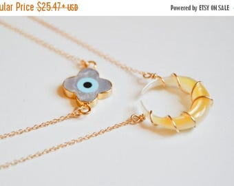 SUMMER SALE Double Horn-Crescent-Mother of Pearl-Egyptian Gods-Isis & Horus-Cleopatra-Shell Gold Dipped Evil Eye-Divine Energy-Necklace-Gold