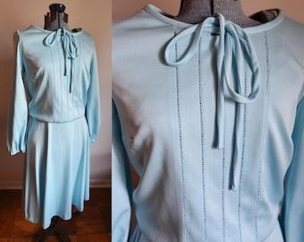Small / Medium - Vintage Pretty Light Blue Secretary Dress