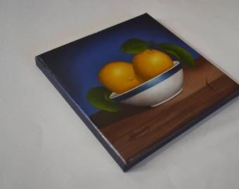 8x8' acrylic small still life painting, lemons painting, bowl, kitchen artwork, food painting, tiny fruit painting, lemon miniature