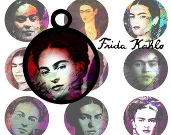 Frida Kahlo Jewelry   Printables  digital downloads circles  DIY JEWELRY   digital collage sheet  Frida  Jewelry making
