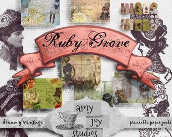 Ruby Grove  Junk Journal Printable  Digital Journal Kit  Victorian Journal  Ephemera Pack  Journal Cards  DIY journal  vintage women  mini