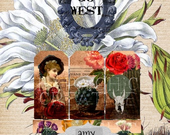 GO WEST Add On Journal Tags  Digital Journal  Vintage Junk Journal  Printable Journal  Journal Cards Printable  Bookmark  Gift Tag  Old West