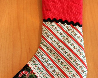 Traditional Victorian Inspired Quilted Patchwork Christmas Stocking. Patchwork of Elegant Holiday Fabrics  Accented with Rickrack