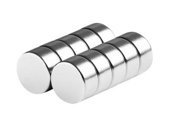 1/2 x 1/4 Inch (12.7 x 6.35 mm) Neodymium Rare Earth Disc Magnets N48 (10 Pack)