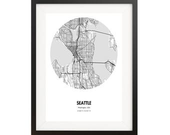 Seattle Map Poster - 18 by 24 inch Map Print