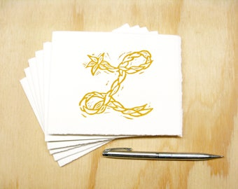 Letter L Stationery - READY TO SHIP - Personalized Gift - Set of 6 Block Printed Cards