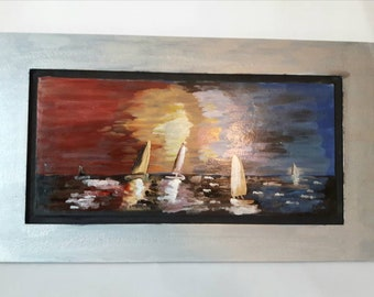 Landscape art, Sailboat painting, Wall art, Home decor