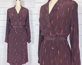 Vintage 1980s Chocolate Brown & Rainbow Print Silk Shirtdress / Wrap Dress / Made by Jeannene Booher for Maggy London / Secretary