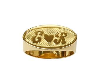 Lee174-10K 9mm 10K Gold Oval Name Ring