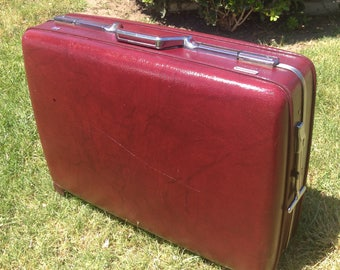 Vintage American Tourister Rolling Suitcase, Burgandy Rolling Luggage, Burnt Red Traveling Bag