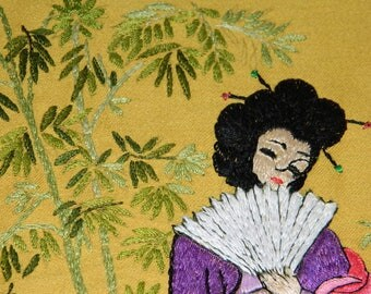 """embroidery old """"Japanese"""", vintage, 1950's. old french Embroidery"""
