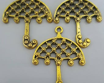 5 Pcs Large Umbrella Gold Tone Charms, 39x28mm
