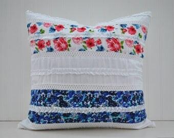Shabby Chic Boho Pillow Cover   Boho Floral and Lace Pillow Cover   18 x 18 Boho Pillow Cover   Zipper Closure
