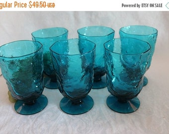 Summer Sun Sale Set of 6 Vintage Morgantown Crinkle Seneca Driftwood Teal Blue Glass Footed Tumblers in Excellent Condition!