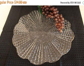 """SALE Blown Clear Glass Textured 12"""" Charger Plate in Excellent Condition"""