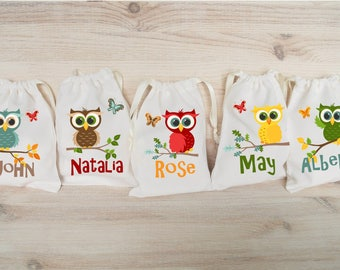 Owl Favor Bags Owl Party Favors Personalized Party Gift Bags Loot Bags Goodie Bags Drawstring Pouch Birthday Party Favors