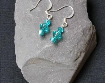 Swarovski  Blue Zircon Bicone Crystal Earrings