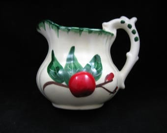 Vintage Ceramic Cherry Wall Pocket Pitcher Ranchito Calif Pottery Retro Kitchen Decor Hand Paint Art