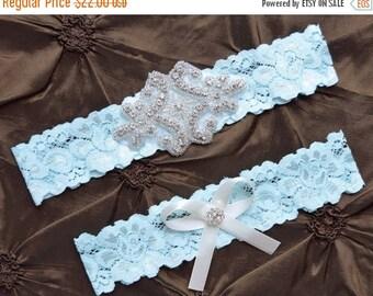 ON SALE Something Blue Wedding Garter, Blue Garter Set, Blue Bridal Garter Set, Blue Lace Garter, Blue  Garter Belt, Blue Garter, Crystal Ga