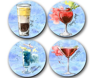 Coasters - Cocktail, Gifts, Hostess Gifts, Housewarming Gifts, (0008)