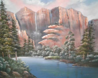Large Oil  On Canvas/Grand Tetons/Signed Clara/Trees/ Waterfall/Mountains/River/Pond