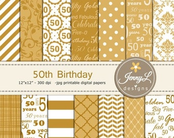 50% OFF 50th Birthday Digital Papers, Gold, Golden Damask for Digital scrapbooking, Invitations, Cake Topper