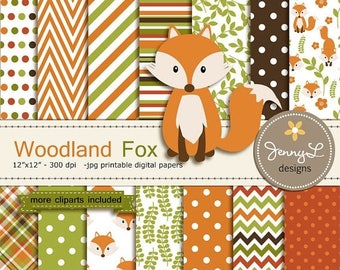 50% OFF Fox Digital Paper and Clipart, Fall Woodland Animal, leaves for Birthday, wedding, School, Scrapbooking Paper Party Theme