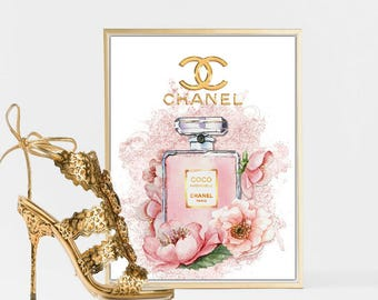 Wall Art Print of Chanel Bottle Watercolour with flowers A4 glossy - unframed