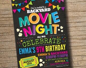 Movie Night Invitations, Movie Birthday Invitations, Backyard Movie Party, Movie Party Invitation Chalkboard (Printable)