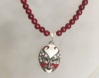 Drama Mask Red Pearl Necklace