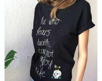 Dead skeletons inspired, Organic cotton black t-shirt, Hand embroidered, one of a kind