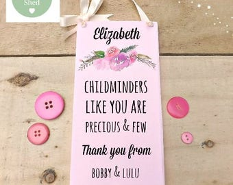 Floral Childminders Plaque Babysitter Keepsake Thank you Sign Personalised Gift