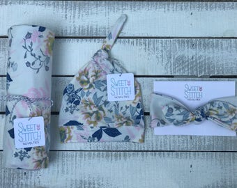 Posy Swaddle Set, Floral Swaddle Set, Baby Girl Set, Top Knot Headband, Top Knot Hat